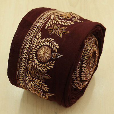 Indian Vintage Maroon Embroidered Antique Used Sari Border Wrap Sewing 1YD Trim