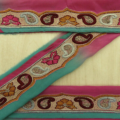 Vintage Indian Embroidered Pink Lace Trim Used Sari Border Sewing 1YD Ribbon