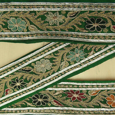 Vintage Indian Embroidered Trim Used Sari Border Green Antique Sewing 1YD Ribbon