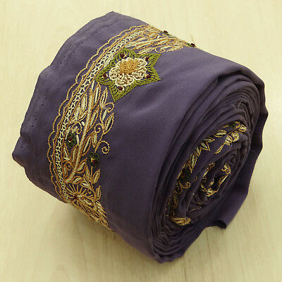 Indian Vintage Purple Used Sari Border Embroidered Trim Ribbon Sewing 1YD Lace