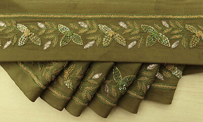 Indian Vintage Sari Border Wrap Embroidered Green Used Ribbon Sewing 1YD Lace