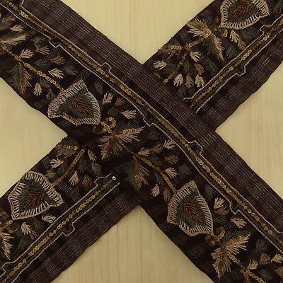 Vintage Indian Plum Used Sari Border Wrap Craft Sewing 1YD Ribbon Embroidered