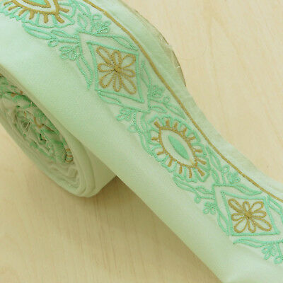 Vintage Indian Embroidered Green Ribbon Used Sari Border Trim Sewing 1YD Lace