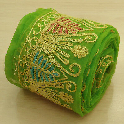 Indian Vintage Green Embroidered Trim Used Sari Border Ribbon Sewing 1YD Lace