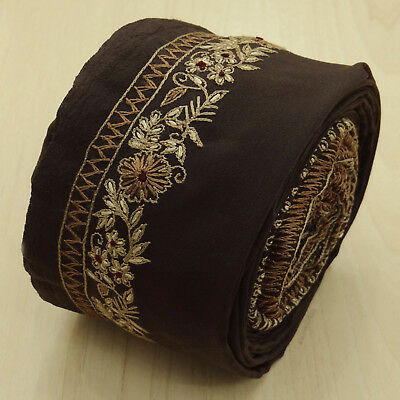 Vintage Indian Brown Ribbon Embroidered Used Sari Border Trim Sewing 1yd Lace