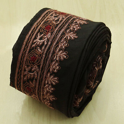 Vintage Indian Embroidered Ribbon Brown Antique Sari Border Trim Sewing 1YD Lace