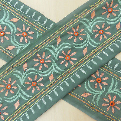 Indian Vintage Sari Border Embroidered Sewing Trim Ribbon Used Grey Lace 1YD