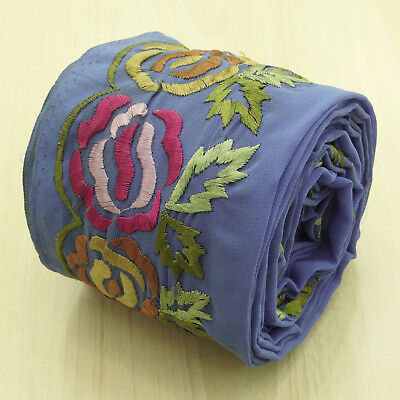 Indian Vintage Sari Embroidered Border Antique Blue Ribbon Sewing Used 1YD Trim