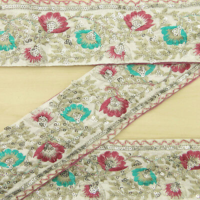 Indian Vintage Used Sari Border Embroidered White Ribbon Sewing Trim 1yd Lace