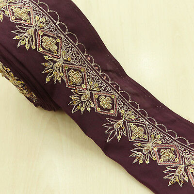 Indian Vintage Embroidered Sari Border Antique Ribbon Plum Sewing Used 1YD Trim