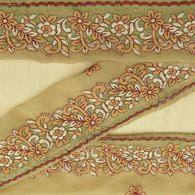 Vintage Indian Embroidered Lace Beige Trim Used Sari Border Sewing 1YD Ribbon