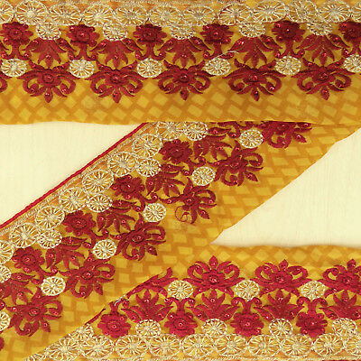 Indian Vintage Embroidered Yellow Antique Wrap Used Sari Border Sewing 1YD Trim