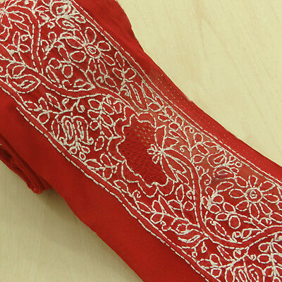 Indian Vintage Red Embroidered Used Sari Border Antique Ribbon Sewing 1YD Trim