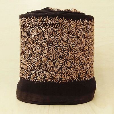 Indian Vintage Used Sari Border Embroidered Brown Antique Ribbon Sewing 1yd Lace