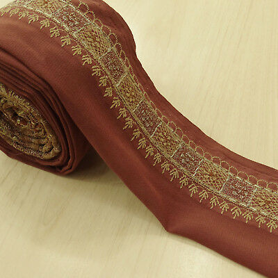 Indian Vintage Brown Embroidered Border Antique Sewing Used Sari Trim 1YD Ribbon
