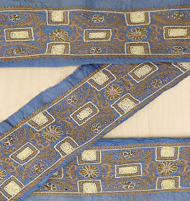 Vintage Indian Used Sari Border Ribbon Wrap Blue Embroidered Sewing 1YD Trim