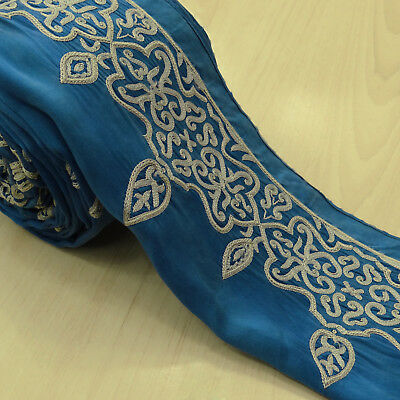 Vintage Indian Embroidered Used Sari Border Blue Antique Ribbon Sewing 1yd Lace