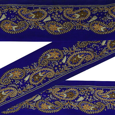 Vintage saree Border Blue Embroidered Ribbon Lace Indian Used Sewing 1Yd Trim