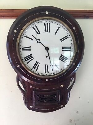 Wooden in laid drop dial wall clock
