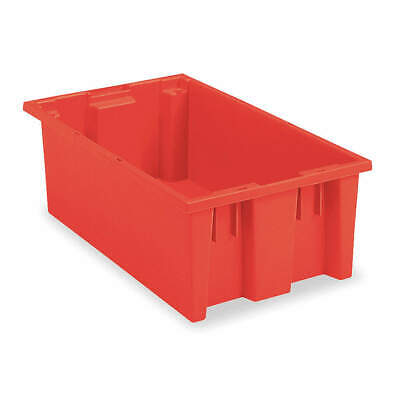Industrial Grade Polymer Nest and Stack Container,19-1/2 in L,Red, 35200RED, Red