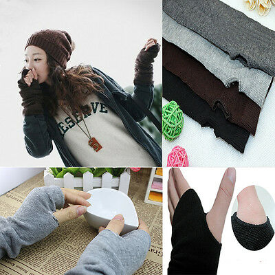 Hot Women Stretchy Long Fingerless Gloves Cashmere Blend Arm Warmer Sleeves