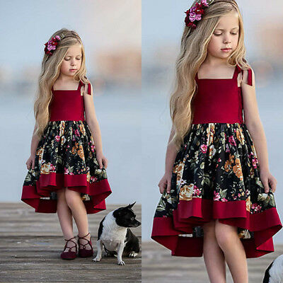 AU Kid Baby Formal Girl Party Printing Dress Wedding Bridesmaid Dresses Princess
