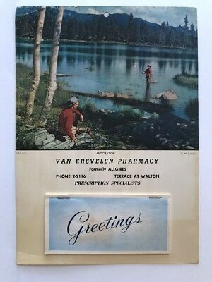 Vintage 1955 Tear-off Advertising Calendar Fishing Van Krevelin  Muskegon MI