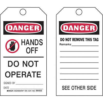 BRADY Polyester Danger Tag,5-3/4 x 3 In,ISO 9001,PK25, 87001