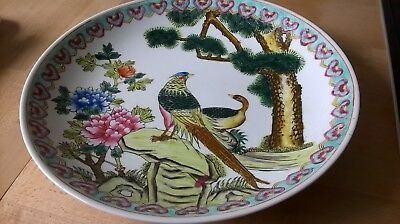 Hand painted chinese bowl with birds and wonderful colours lovely
