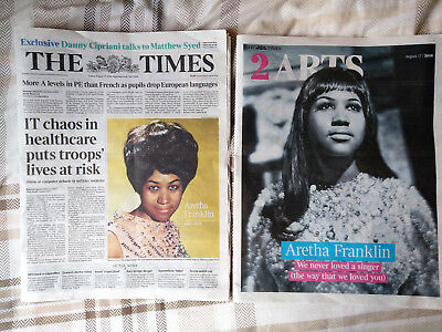 ARETHA FRANKLIN 2 Times Front Page Covers 17th August 2018 UK + MORE