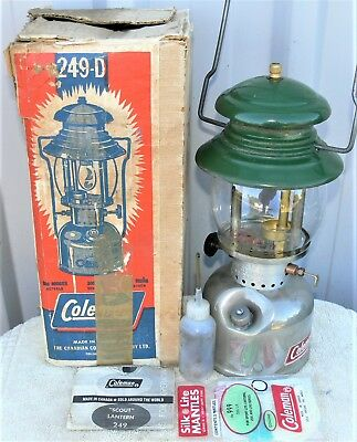 Scarce Coleman 249D kerosene lantern, made Canada 9/67, clean in box with accs.