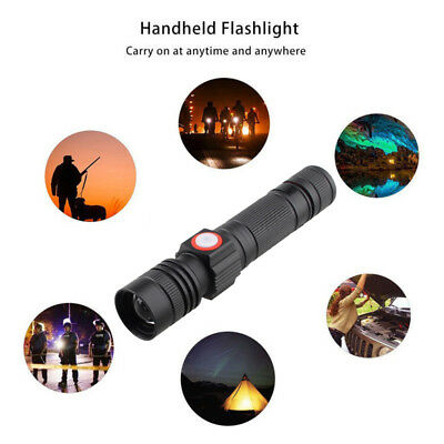 Tactical Zoomable 1200LM L2 LED USB Flashlight 3 Mode Hunting Torch 18650 Light