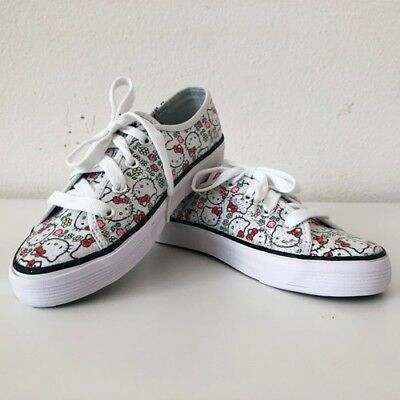helllo kitty shoes sneakers keds white bow print girls youth Size 1