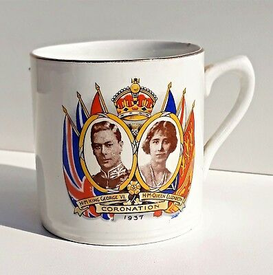 Antique Retired King George VI Coronation Mug Very Nice