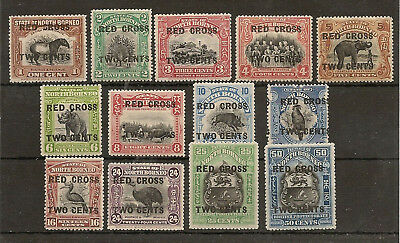 North Borneo 1918 (Aug) Red Cross Surch Set Of (13) To 50C Fresh Mint