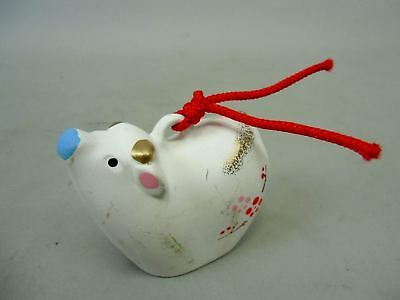 DR23 Japanese Dorei Clay Bell Cow Zodiac Vtg Hand Painted Lucky Charm Ceramic