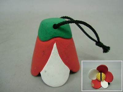 DR30 Japanese Dorei Clay Bell Vtg Red Hand Painted Flower Lucky Charm Ceramic