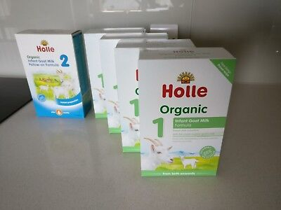 Holle Organic Goat Milk Formula 1 (4 x 400g) and 2 (1 x 400g)