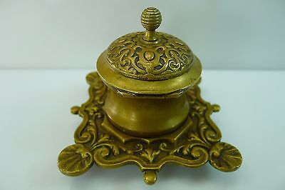 Rare Old All Brass Hinged Lid Beautiful Inkwell