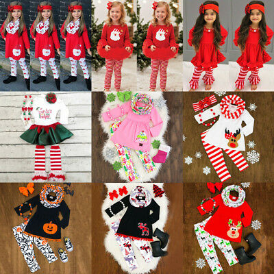 US Seller Newborn Kids Baby Girls Christmas Halloween Tops Pants Outfits Clothes