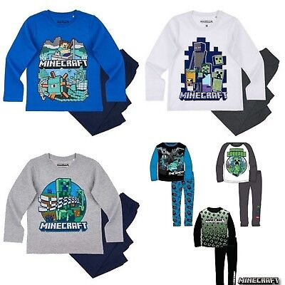 Boys Kids Children Minecraft Long Sleeve Pyjamas Pjs Sets Age 8-12 years