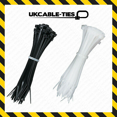 48 PACK OUTDOOR CABLE TIES Zip Tie Wraps Long Strong Nylon Black White 30cm UK
