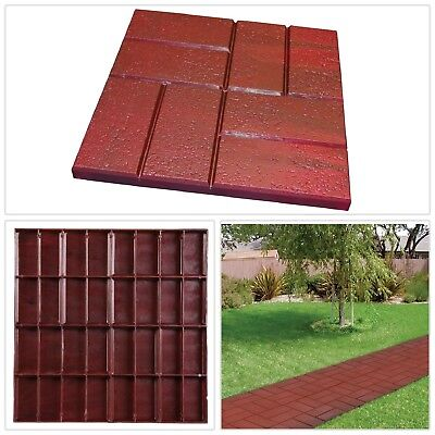 Plastic Brick Pattern Resin Patio Pavers Walk Way Tiles 16 X 16 In. Red 12
