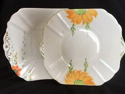 2 Art Deco Square Hand Painted Floral Handled  CAKE PLATES- Radfords & Stanley