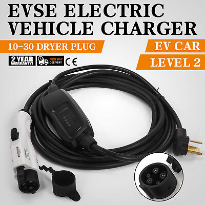 Electric Car Charger 10-30 Plug Level 2 Charger 23' Long Waterproof Versatile