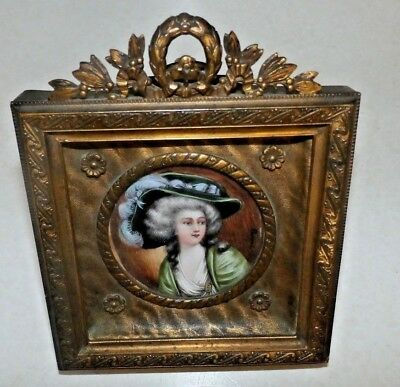 ANTIQUE MINIATURE HAND PAINTED PORTRAIT FRENCH FRAME SIGNEDYanny EASEL BACK
