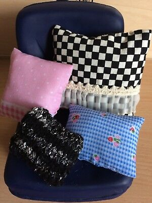 4 Hand Made Cusions for a Barbie/Sindy or Similar Dolls House Sofa/Bed Chair etc