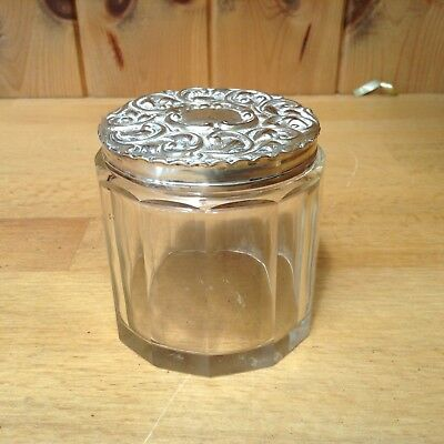 Antique Faceted Jar With Sterling Silver Birmingham 1904 Lid