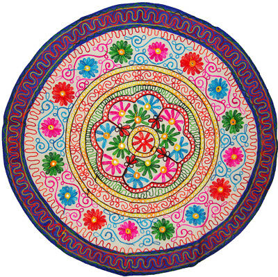 """Round Table Cloth Throw Indian Bohemian Floral Embroidery Work Home Decor 35"""""""