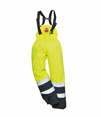 Portwest S782 Waterproof Trousers  Flame Resistant Antistatic Pants -Yell / Navy